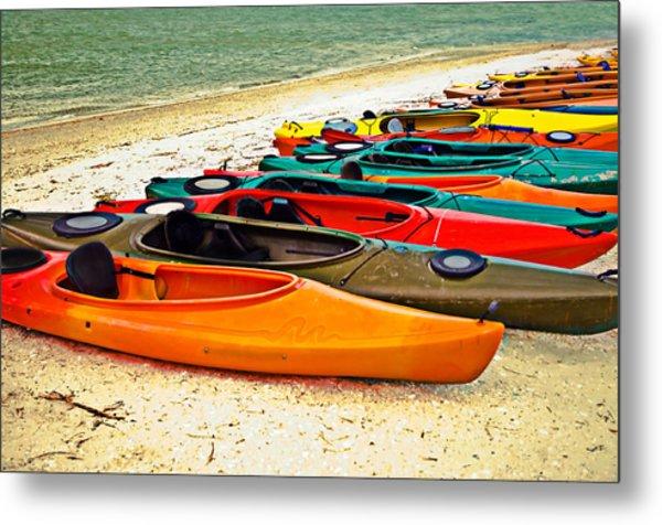 Beach Kayaks Metal Print