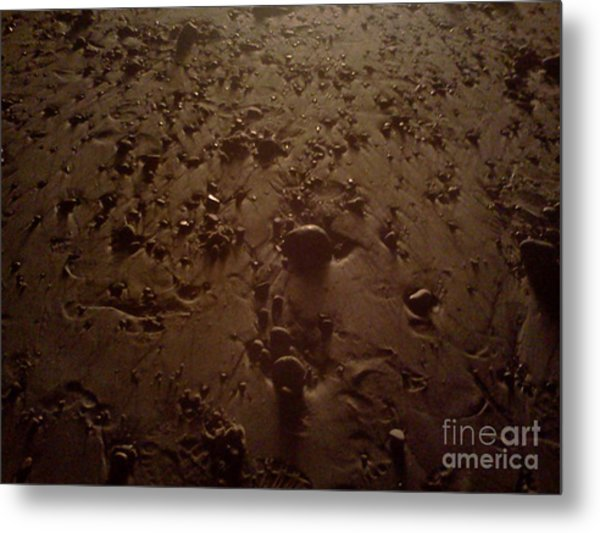 Beach Stones At Night Metal Print by Wendy Marelli
