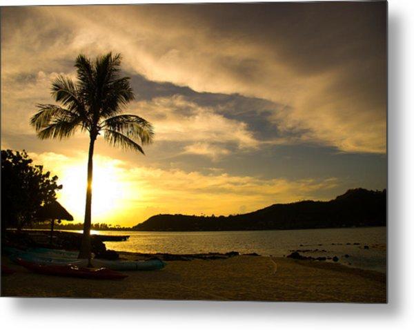 Beach Sunset With Bora Bora Palm Metal Print by Benjamin Clark