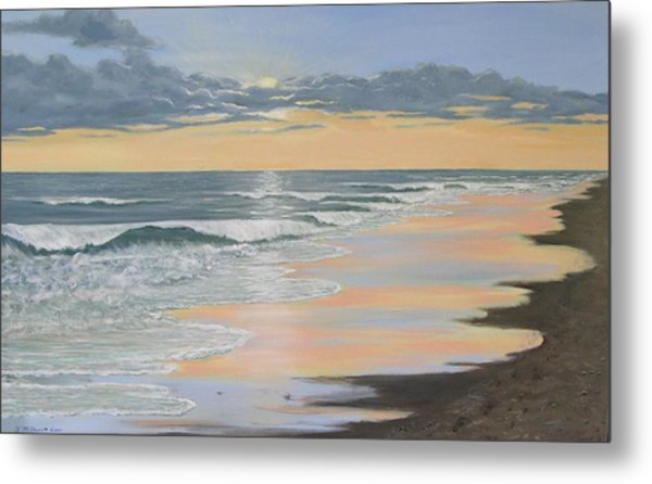 Beach Walk Reflections Metal Print