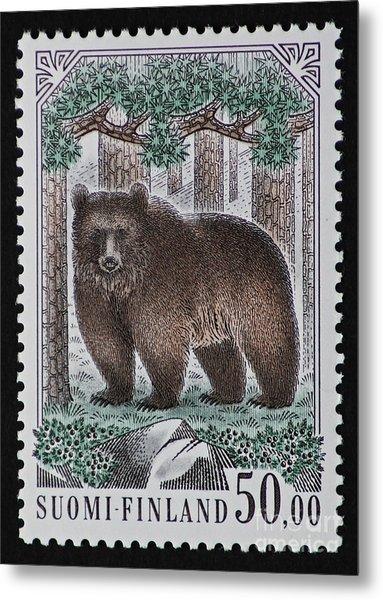 Bear Vintage Postage Stamp Print Metal Print