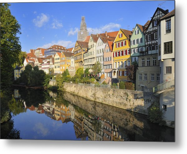 Beautiful German Town Tuebingen - Neckar Waterfront Metal Print