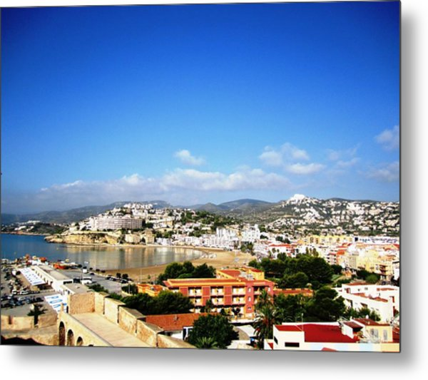 Beautiful Peniscola Beach Ocean View Homes Blue Sky In Spain Metal Print