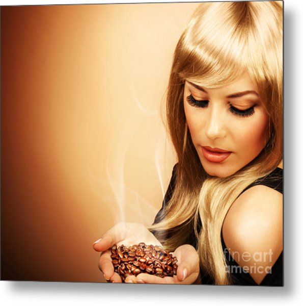 Beautiful Woman Holding Coffee Bean Metal Print by Anna Om