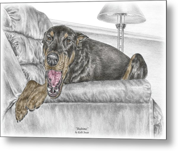 Bedtime - Doberman Pinscher Dog Print Color Tinted Metal Print