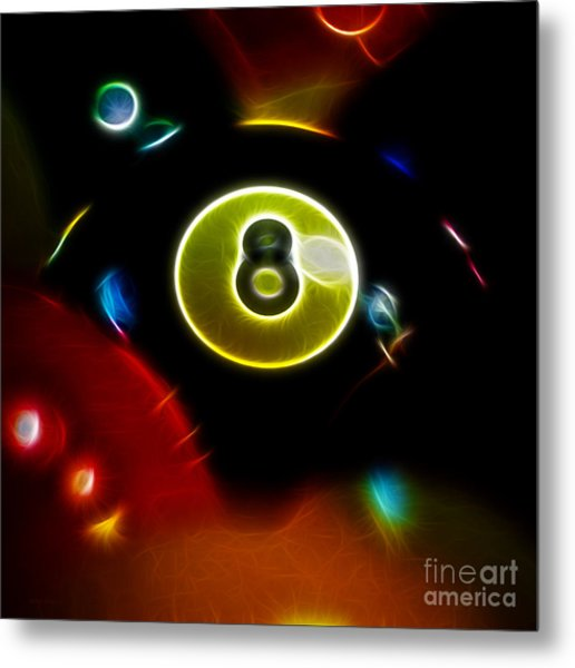Behind The Eight Ball - Square - Electric Art Metal Print by Wingsdomain Art and Photography