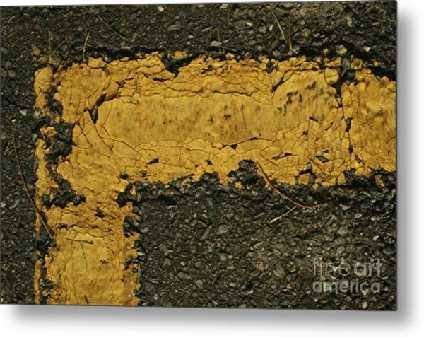 Behind The Yellow Line Metal Print