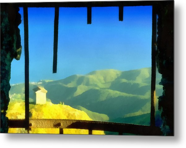 Metal Print featuring the mixed media Beigua Landscape From Miniera House by Enrico Pelos