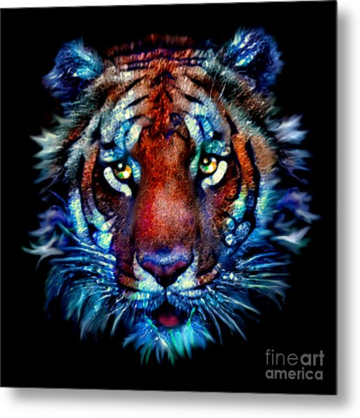 Metal Print featuring the painting Bengal Tiger Portrait by Elinor Mavor