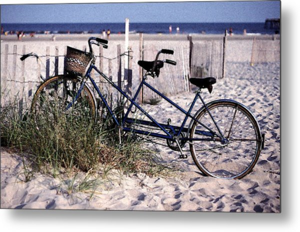 Bicycle Built For Two On A Beach Metal Print by Ercole Gaudioso
