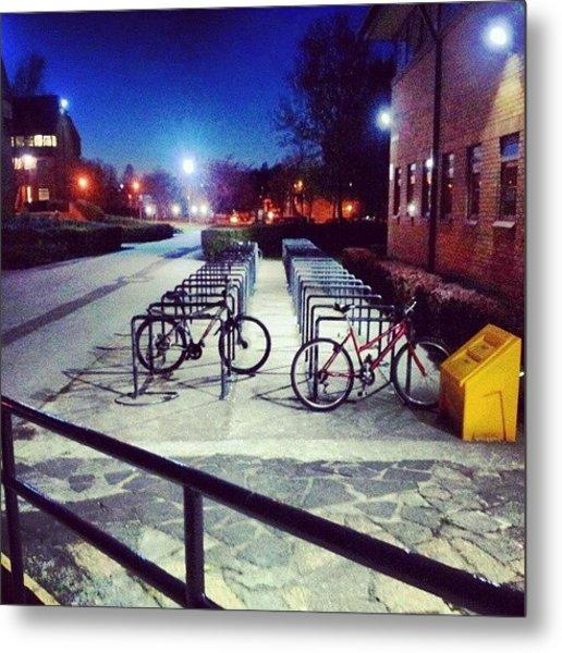 #bicycles Infron Of Metal Print