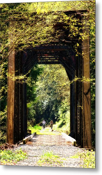 Bicycling Across Old Train Bridge Metal Print