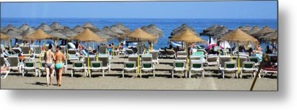 Bikini Girls Beach Umbrellas Costa Del Sol Spain Metal Print