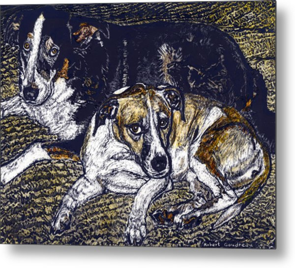 Bill And April Dog Pals Metal Print by Robert Goudreau