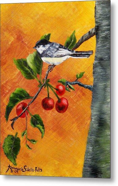 Bird In Chery Tree Metal Print