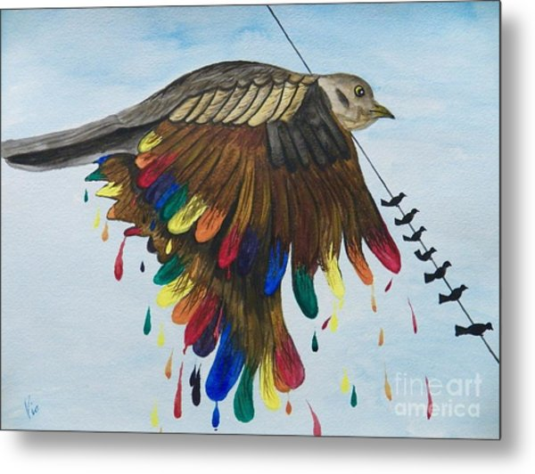Bird On A Wire Flys Free Metal Print
