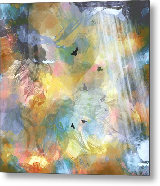 Birds In A Nebula Metal Print by Carly Ralph