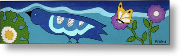Birdy Eyeing Butterfly Metal Print by Marilyn West