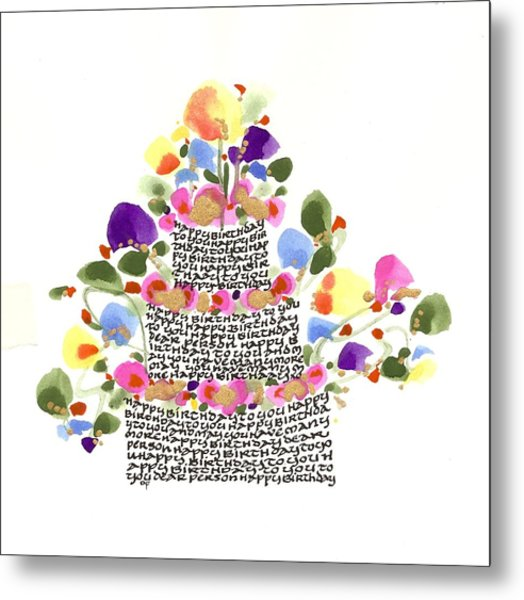 Birthday Cake With Flowers And Words Metal Print