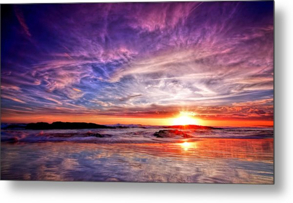 Birubi Point Sunset Redux Metal Print
