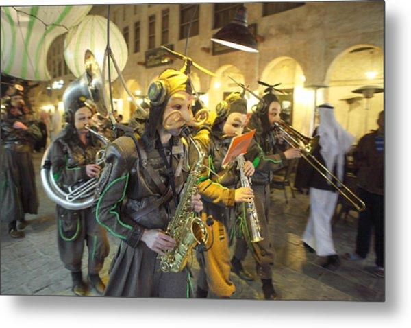 Bizarre Street Band In Doha Metal Print by Paul Cowan