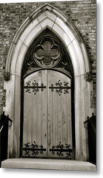 Black And White Doorway Metal Print