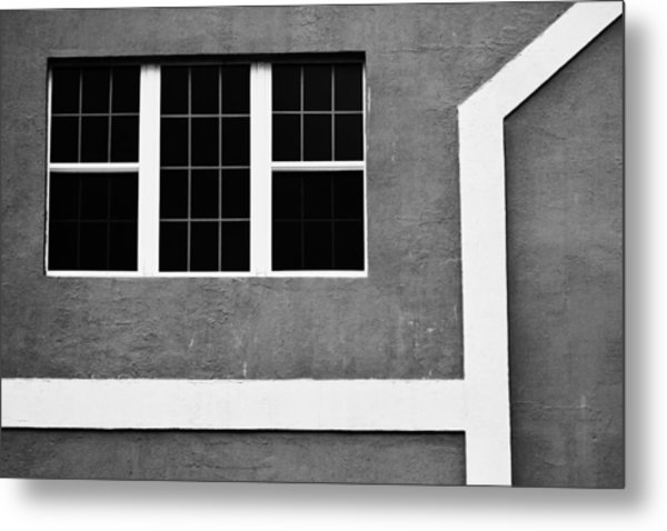 Black And White Side Of Building  Metal Print by Anya Brewley schultheiss