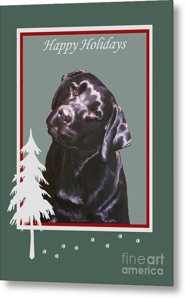 Black Labrador Portrait Christmas Metal Print