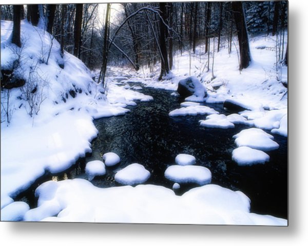Black River Winter Scenic Metal Print by George Oze