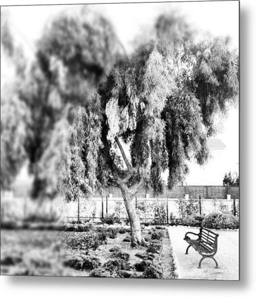 #blackandwhite #bnw #bw #trees #chair Metal Print