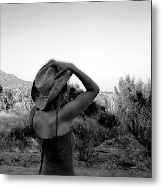 #blackandwhite #girl #hat #nature Metal Print