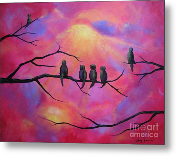 Blazing Ruby Sky Metal Print
