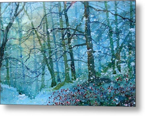 Blizzard In Broxa Forest Metal Print