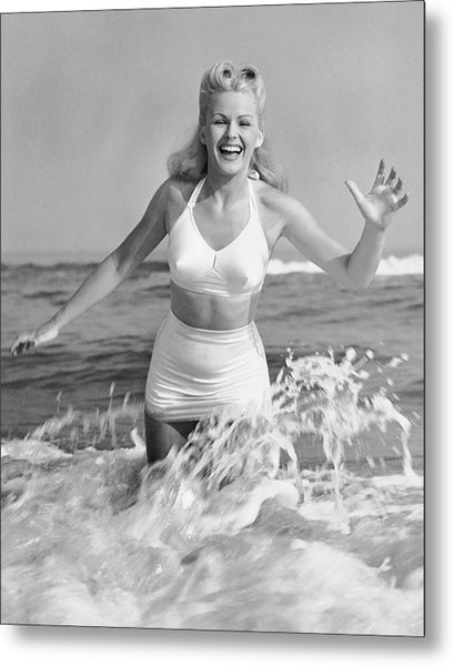 Blonde Woman In Two Piece Bathing Suit Metal Print by George Marks
