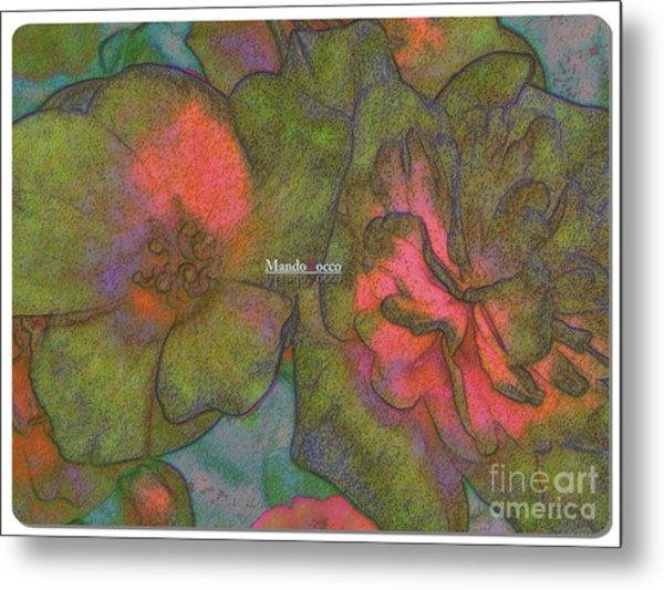Blooms Line Metal Print by Mando Xocco