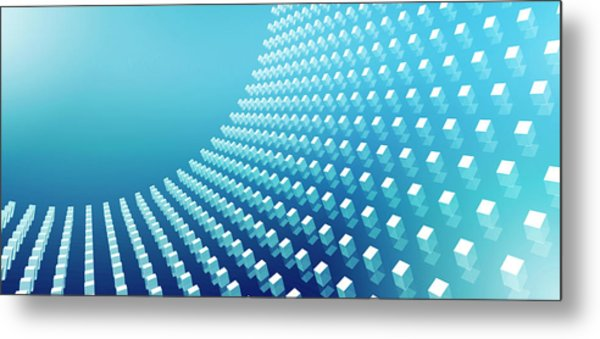 Blue Abstract Cubes In A Curve Metal Print