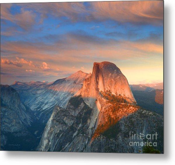 Blue And Orange Sunset Over Half Dome Yosemite Metal Print