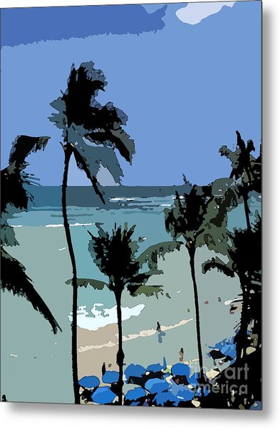 Blue Beach Umbrellas Metal Print by Karen Nicholson