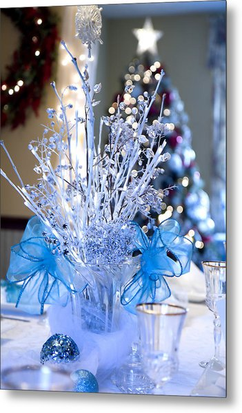 Blue Christmas Metal Print by Trudy Wilkerson