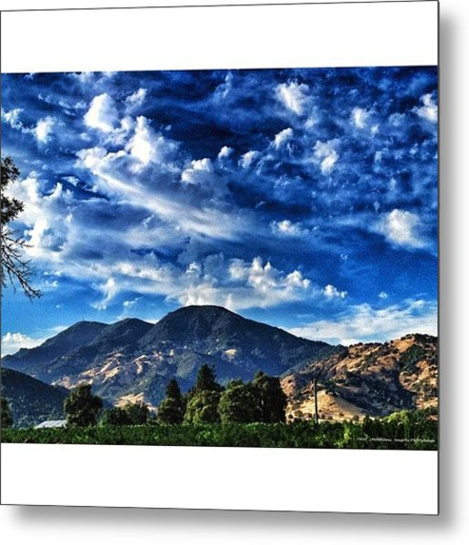 Blue Clouds Over Mt St Helena Metal Print