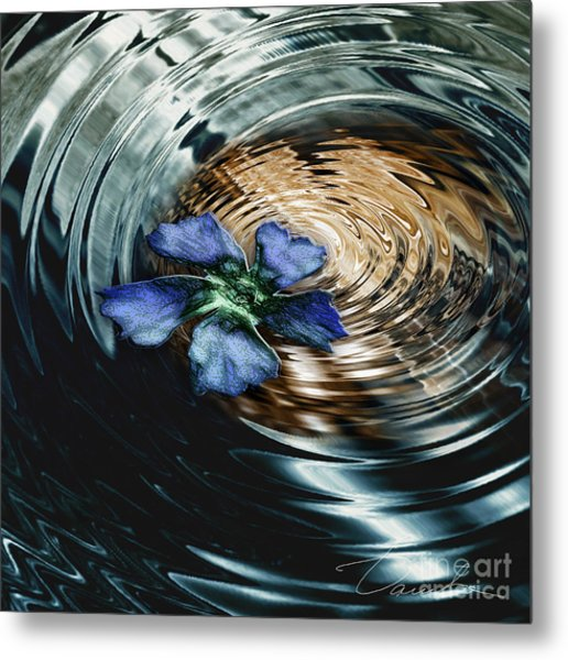 Blue Flower Swirl Metal Print by Danuta Bennett