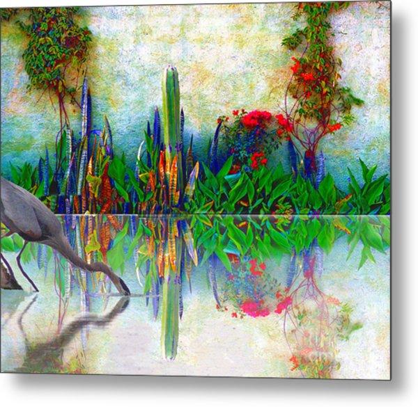 Blue Heron In My Mexican Garden Metal Print