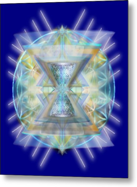 Blue High-starred Chalices On Flower Of Life Metal Print