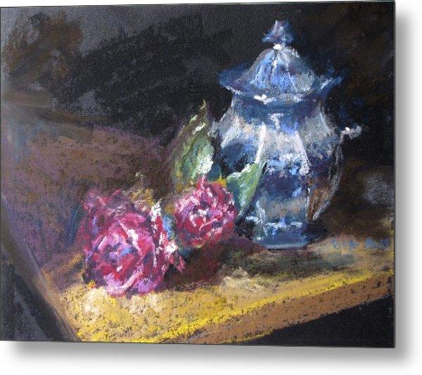 Blue Jug With Roses Metal Print