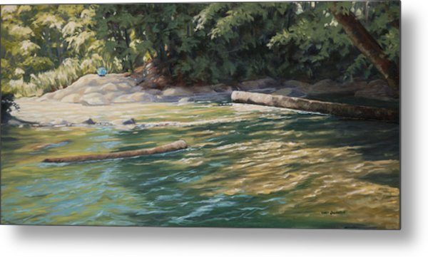 Blue Parasol At Whatcom Falls Metal Print