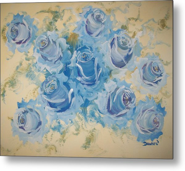 Blue Roses Abstract Metal Print