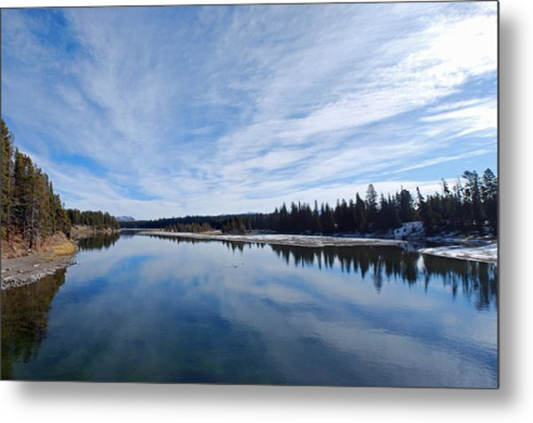 Blue Sky Over Yellowstone River Metal Print