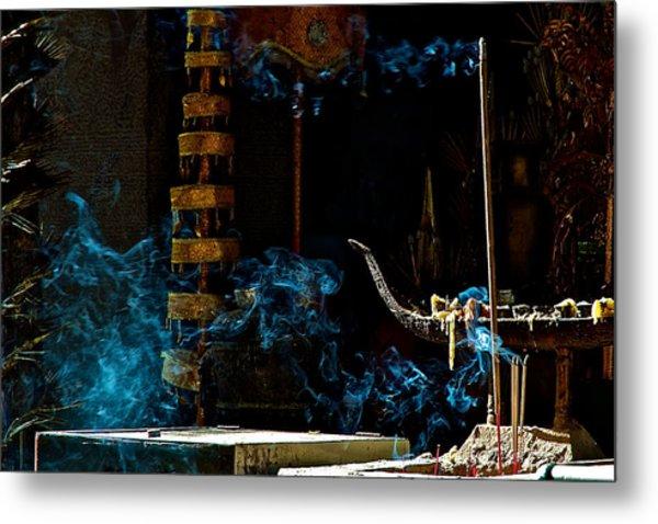 Blue Smoke Metal Print by Arj Munoz