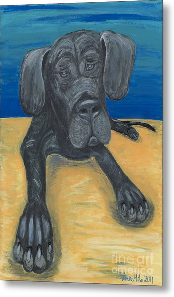 Blue The Great Dane Pup Metal Print
