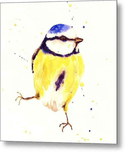 Blue Tit Painting Metal Print